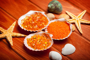 aromatherapy, bath, bathroom, beauty, body, body care, care, cosmetic, freshness, glycerine, healthy, hygiene, lifestyle, luxury, mineral, natural, organic, product, relax, relaxation, salt, soap, spa, toiletries, treatment, wellbeing, wellness, massage, equipment, tools, natural, sea, shell, orange, starfish, ocean, seashell, clamshell, clam, wood, background, texture